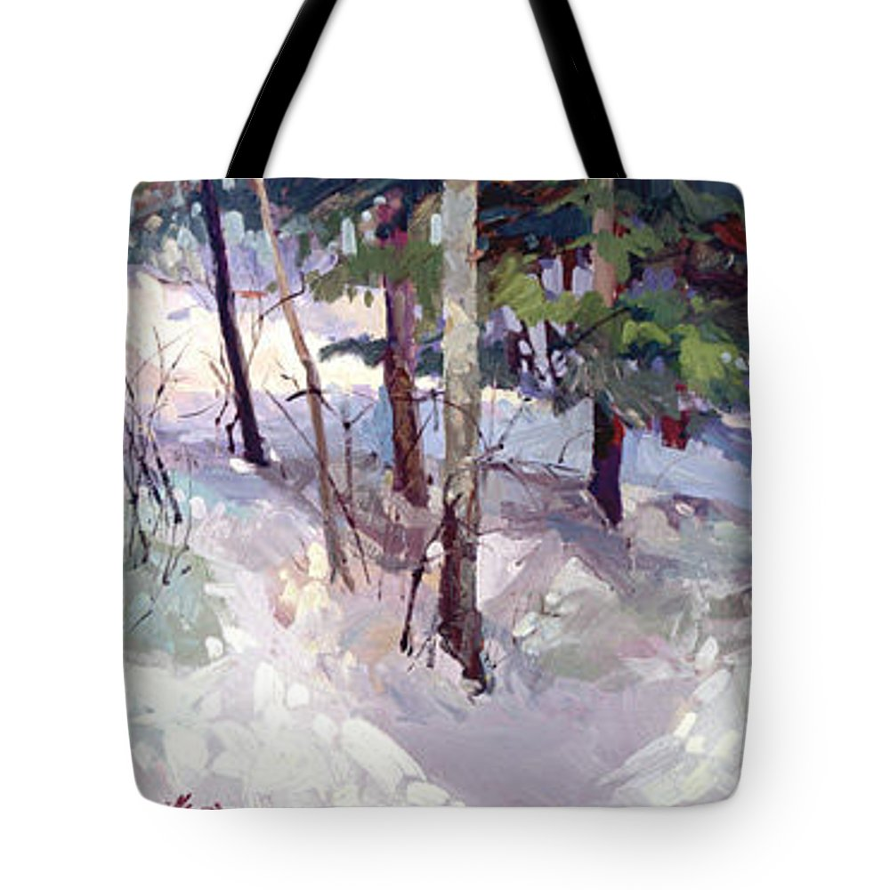 Landscape Tote Bag featuring the painting Winter Garden Plein Air by Betty Jean Billups