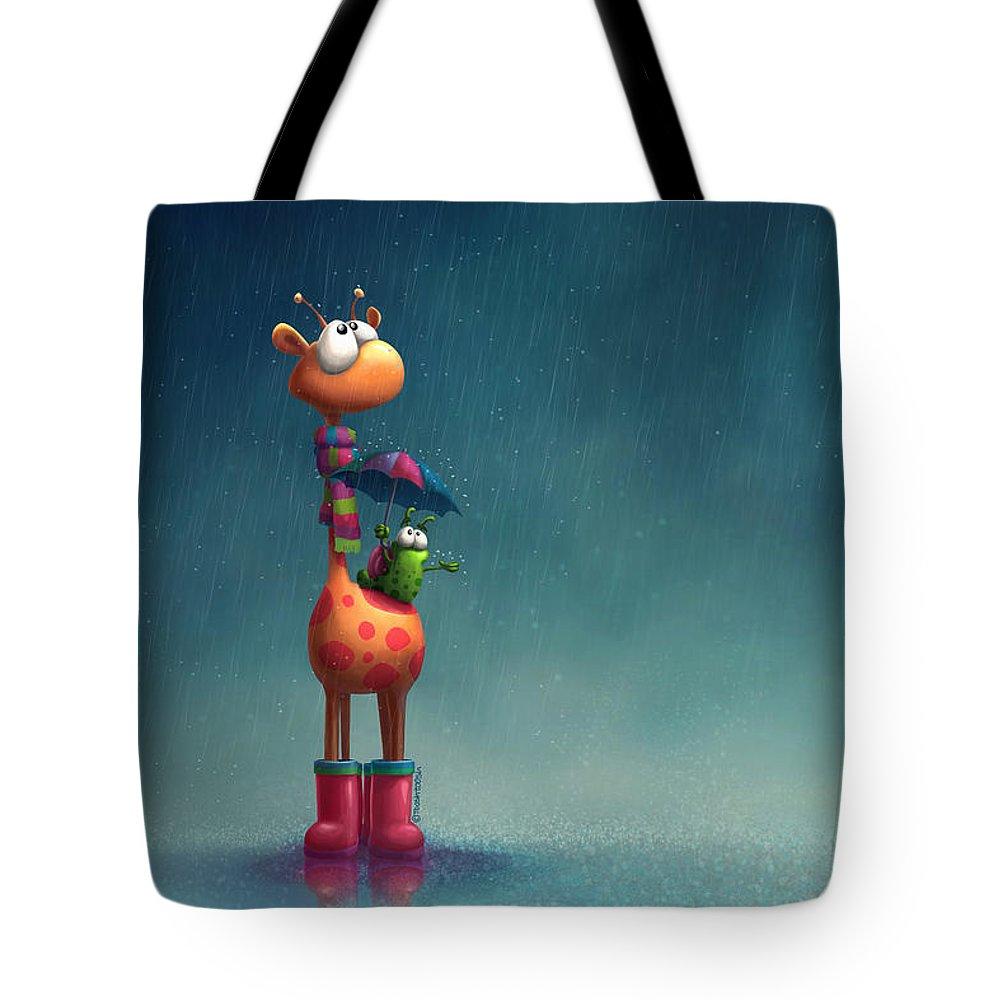 Giraffe Tote Bag featuring the digital art Winter Giraffe by Tooshtoosh