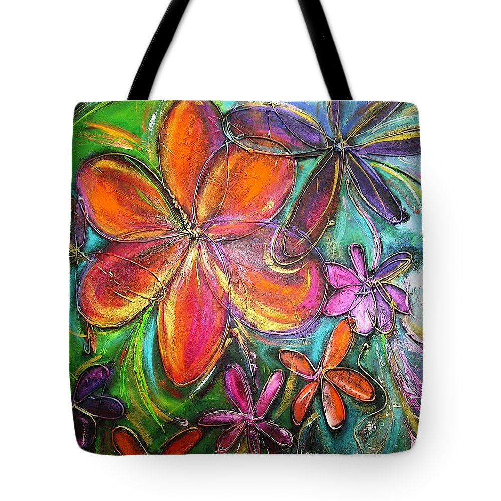 Flower Tote Bag featuring the painting Winter Glow Flower Painting by Chris Hobel