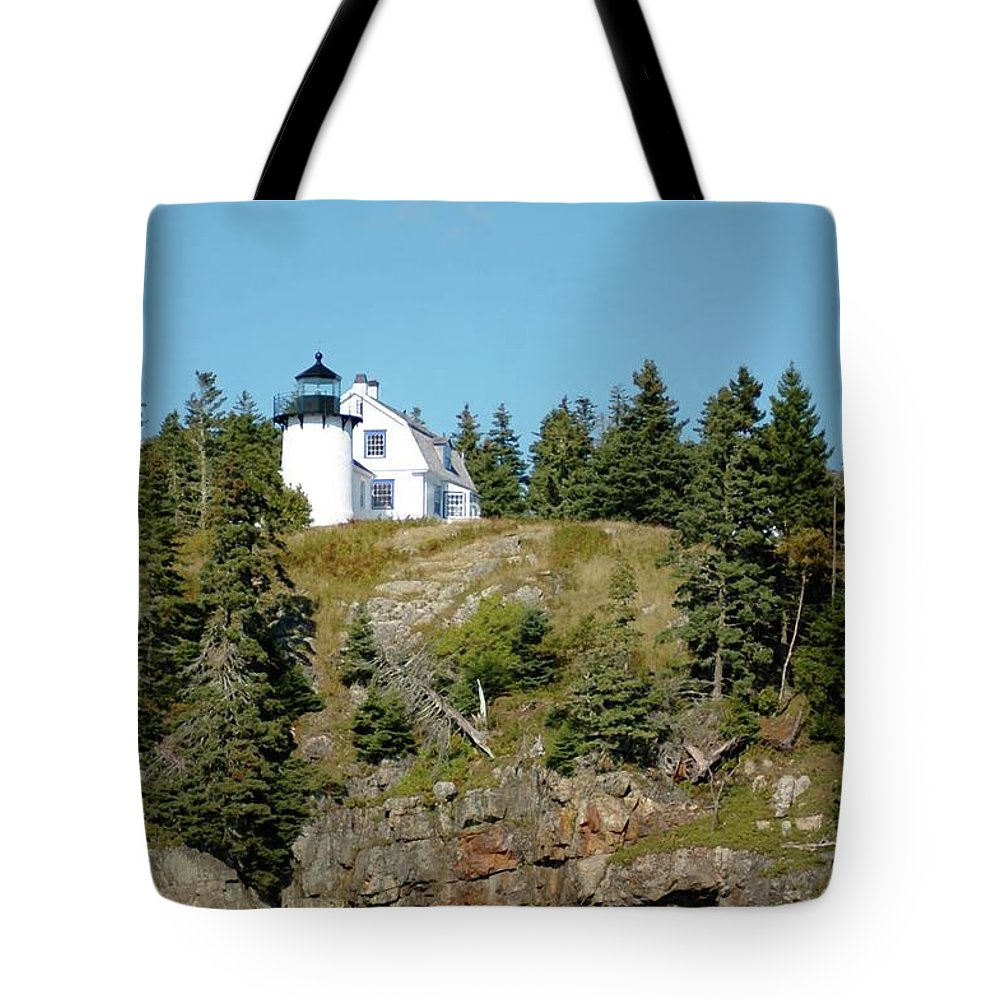 Winter Tote Bag featuring the photograph Winter Harbor Lighthouse by Kathleen Struckle