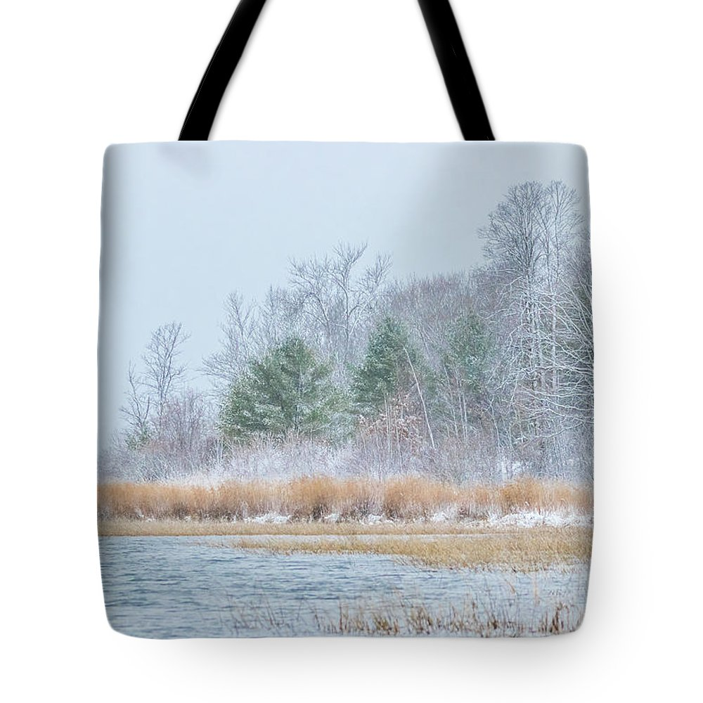 Winter Tote Bag featuring the photograph Winter Hoarfrost On The River by Patti Deters