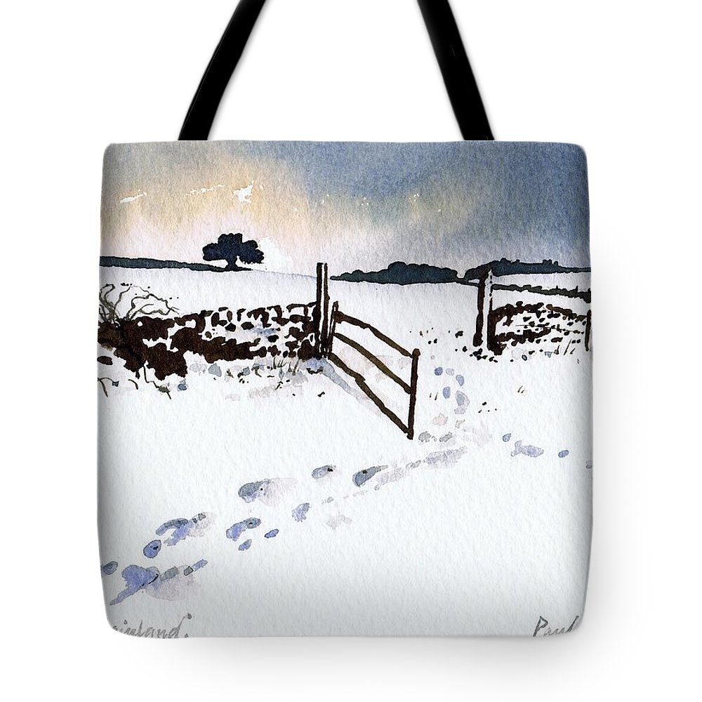 Snow Tote Bag featuring the painting Winter In Stainland by Paul Dene Marlor