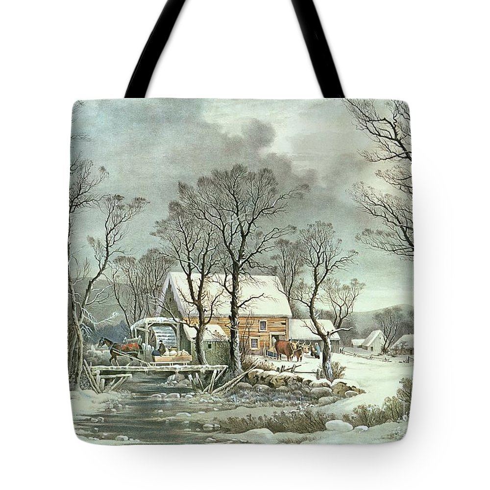 Winter In The Country - The Old Grist Mill Tote Bag featuring the painting Winter in the Country - the Old Grist Mill by Currier and Ives