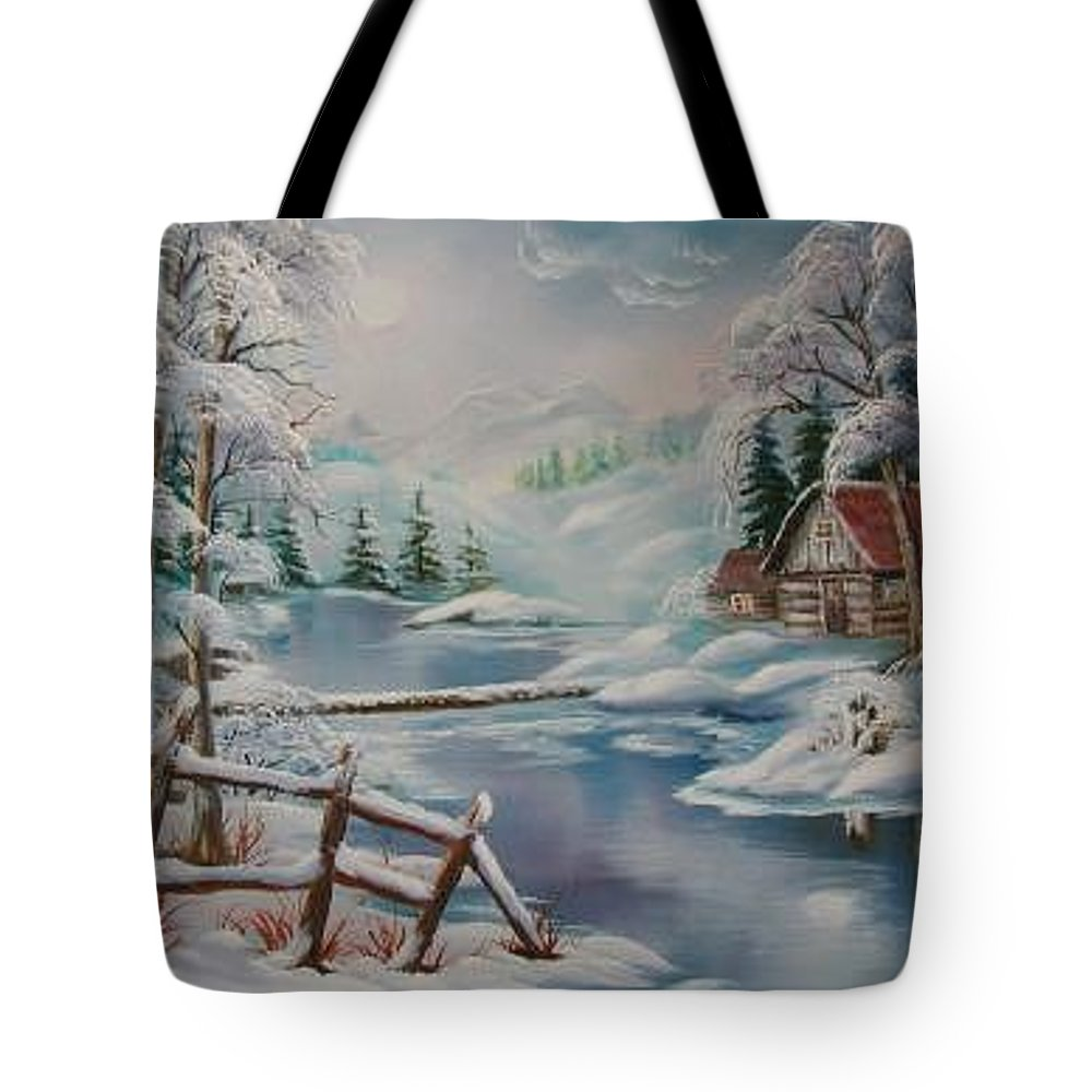 Winter Scapes Tote Bag featuring the painting Winter In The Valley by Irene Clarke