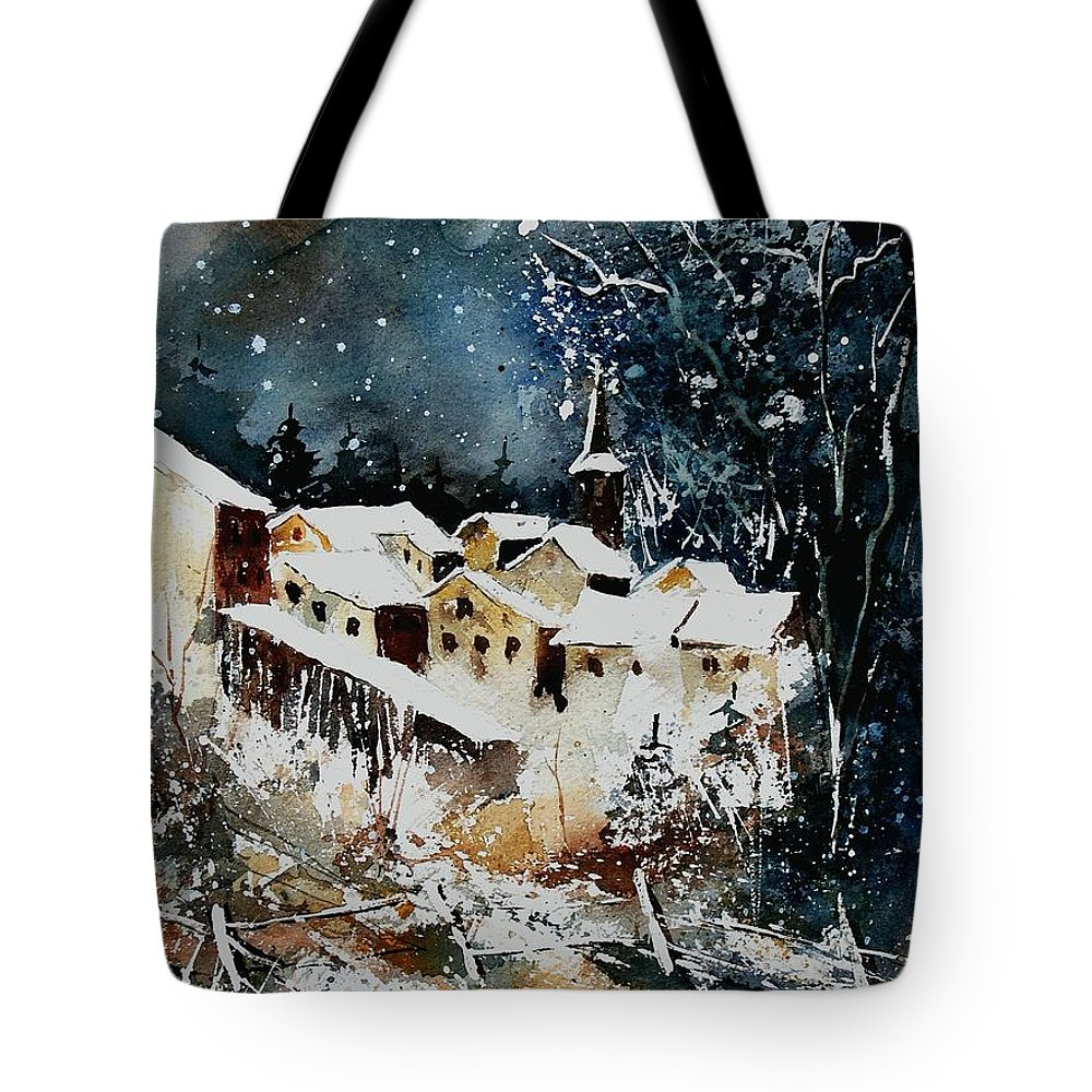 Winter Tote Bag featuring the painting Winter In Vivy by Pol Ledent