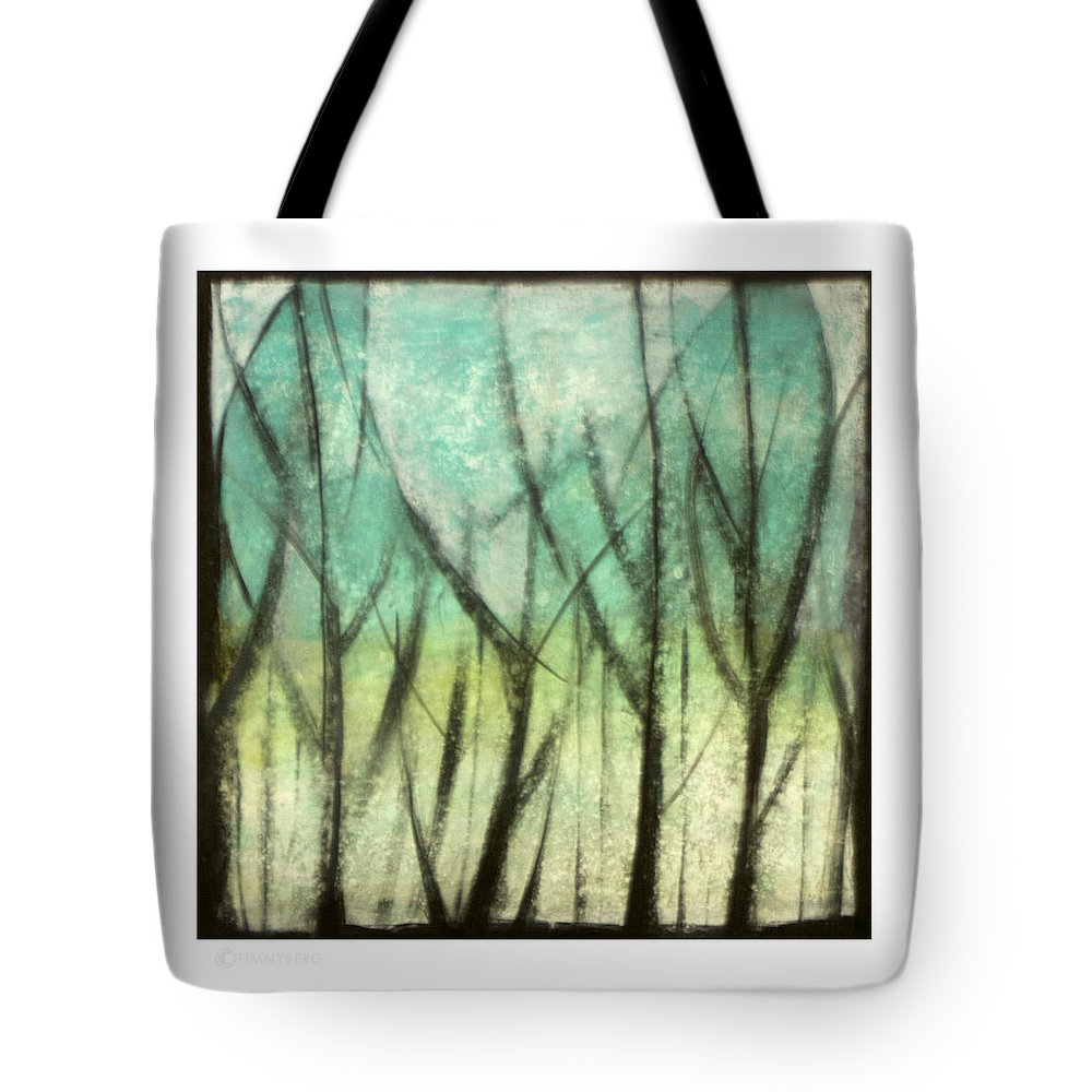 Trees Tote Bag featuring the painting Winter Into Spring by Tim Nyberg