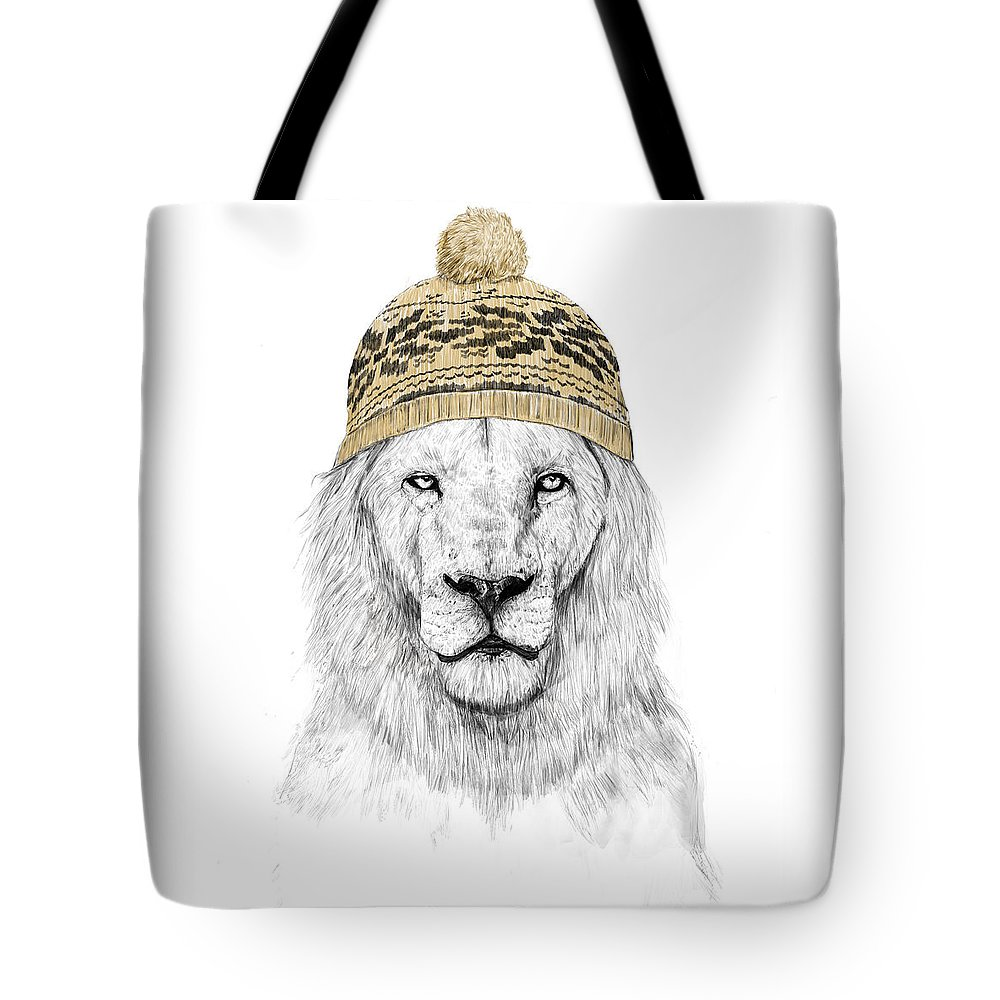 Lion Tote Bag featuring the mixed media Winter is coming by Balazs Solti