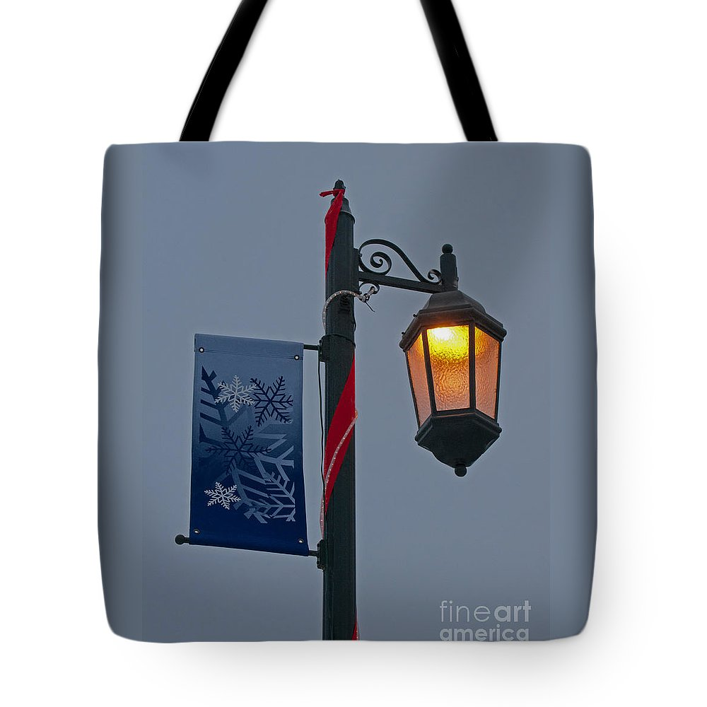 Winter Tote Bag featuring the photograph Winter Lamppost by Ann Horn