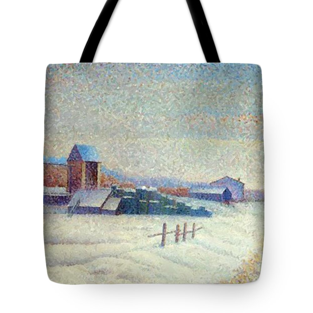 Winter Tote Bag featuring the painting Winter Landscape 1885 by DuboisPillet Albert