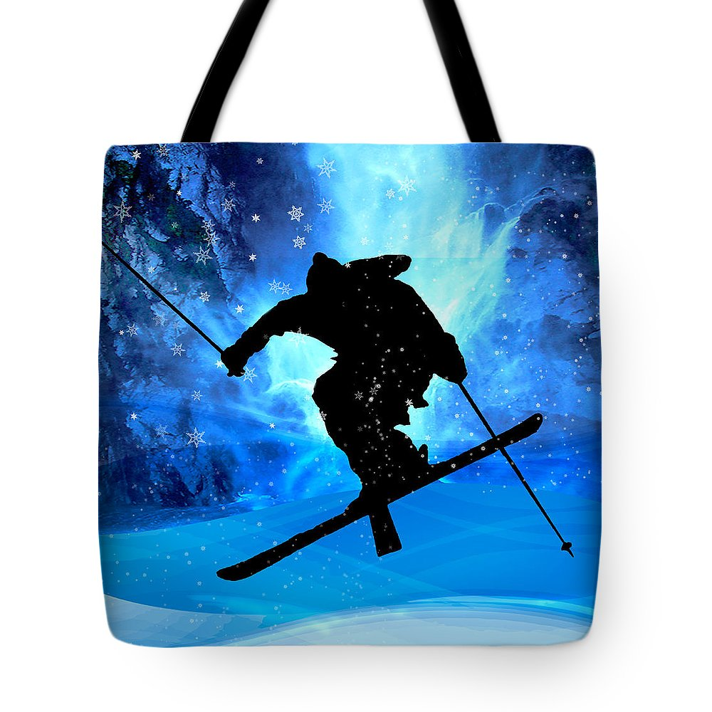 Ski Tote Bag featuring the painting Winter Landscape And Freestyle Skier by Elaine Plesser