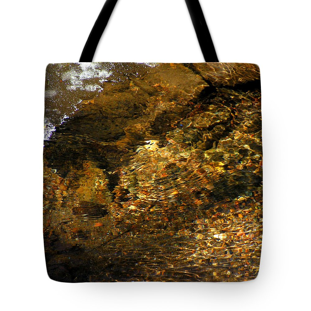 Ice Water Creek Rocks Beauty Colorado Change Zen Simple Tote Bag featuring the photograph Winter Leaving by George Tuffy