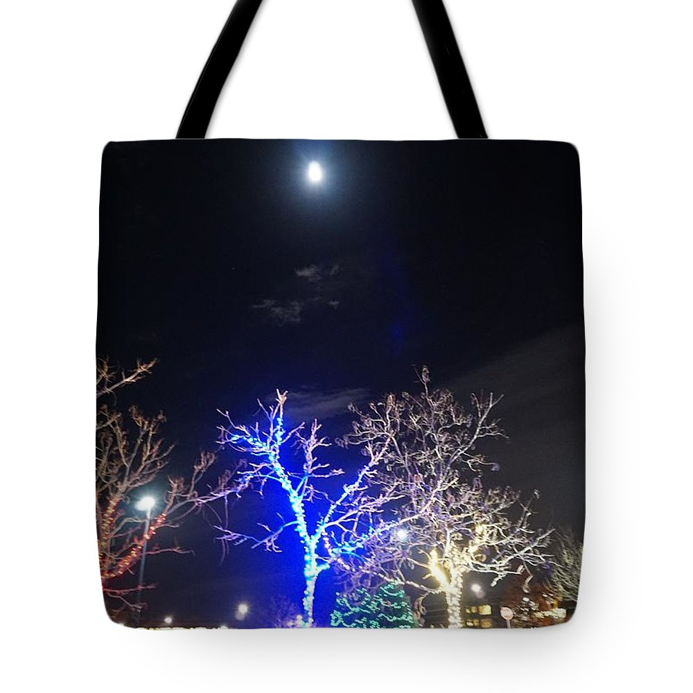 Winter Tote Bag featuring the photograph Winter Lights Full Moon by Susan Brown