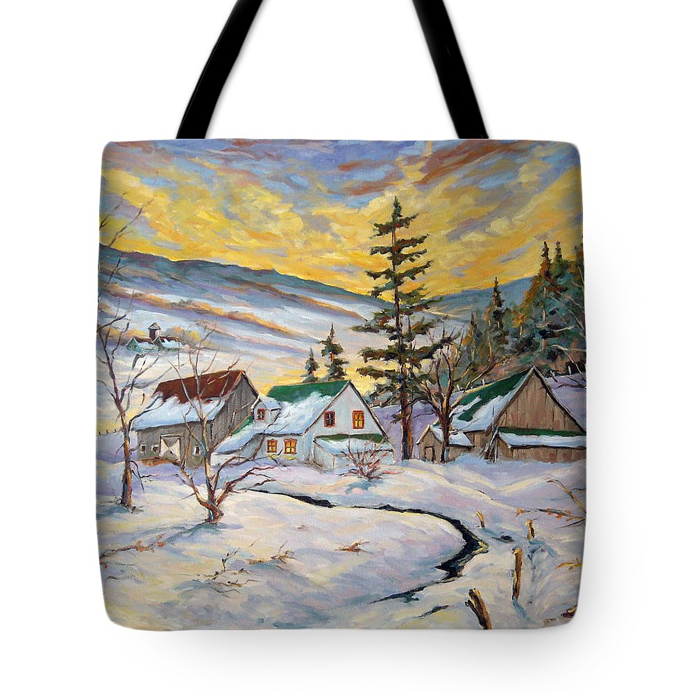 Landscape Tote Bag featuring the painting Winter Lights by Richard T Pranke