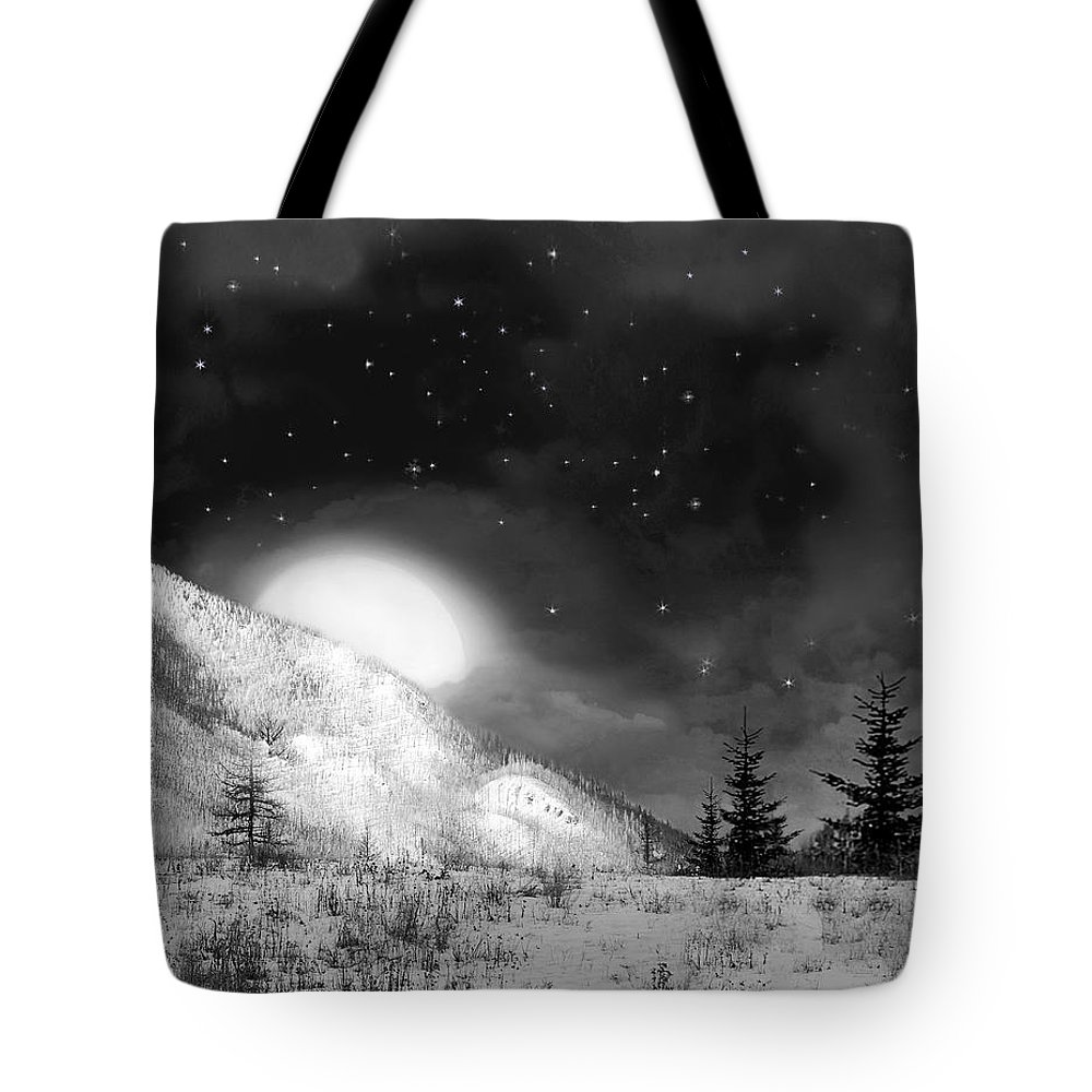 Full Moon Tote Bag featuring the digital art Winter Magic In Black And White by Vicki Lea Eggen