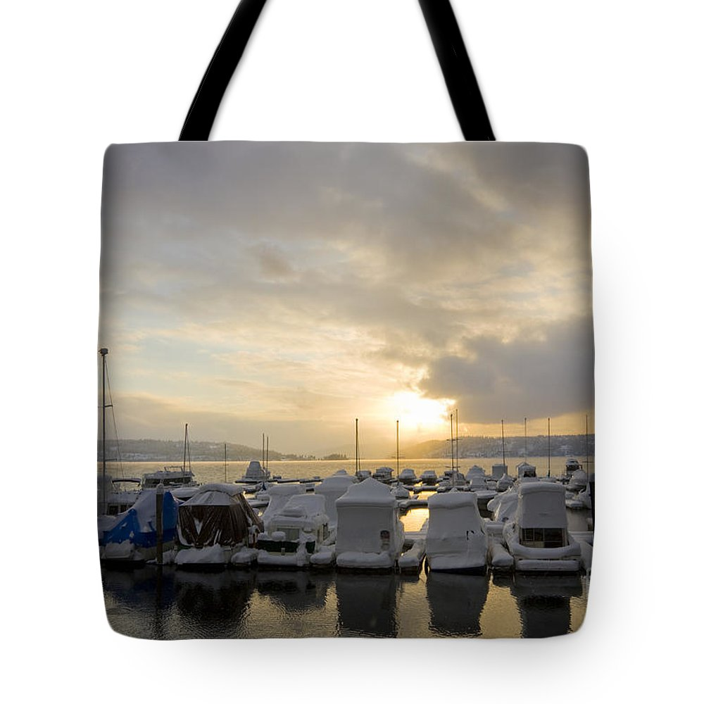 Boats Tote Bag featuring the photograph Winter Marina by Idaho Scenic Images Linda Lantzy