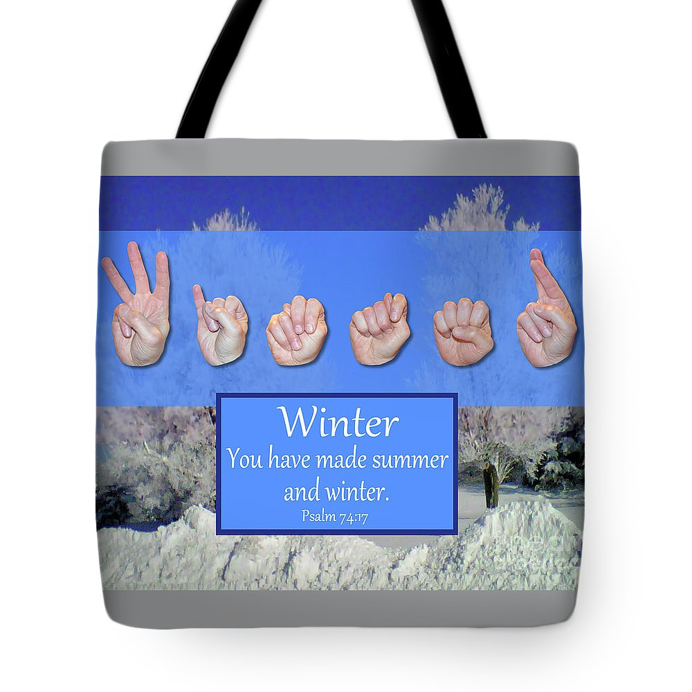 Christian Tote Bag featuring the photograph Winter by Master's Hand Collection