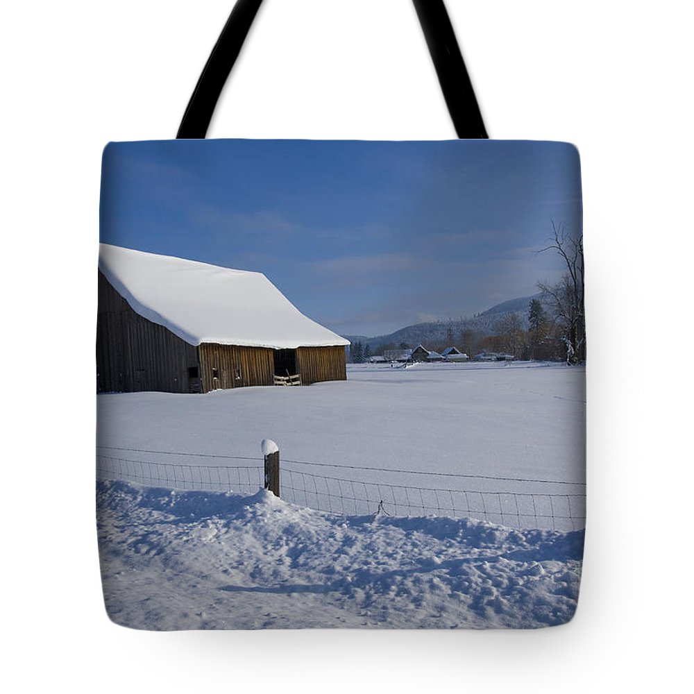 Barn Tote Bag featuring the photograph Winter Meadow by Idaho Scenic Images Linda Lantzy