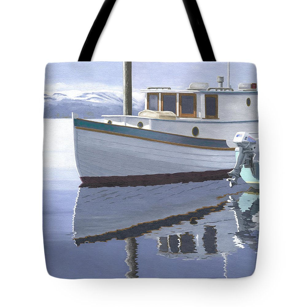 Marine Tote Bag featuring the painting Winter Moorage by Gary Giacomelli