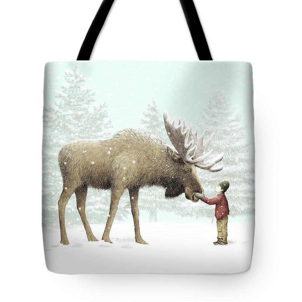 Moose Tote Bag featuring the drawing Winter Moose by Eric Fan