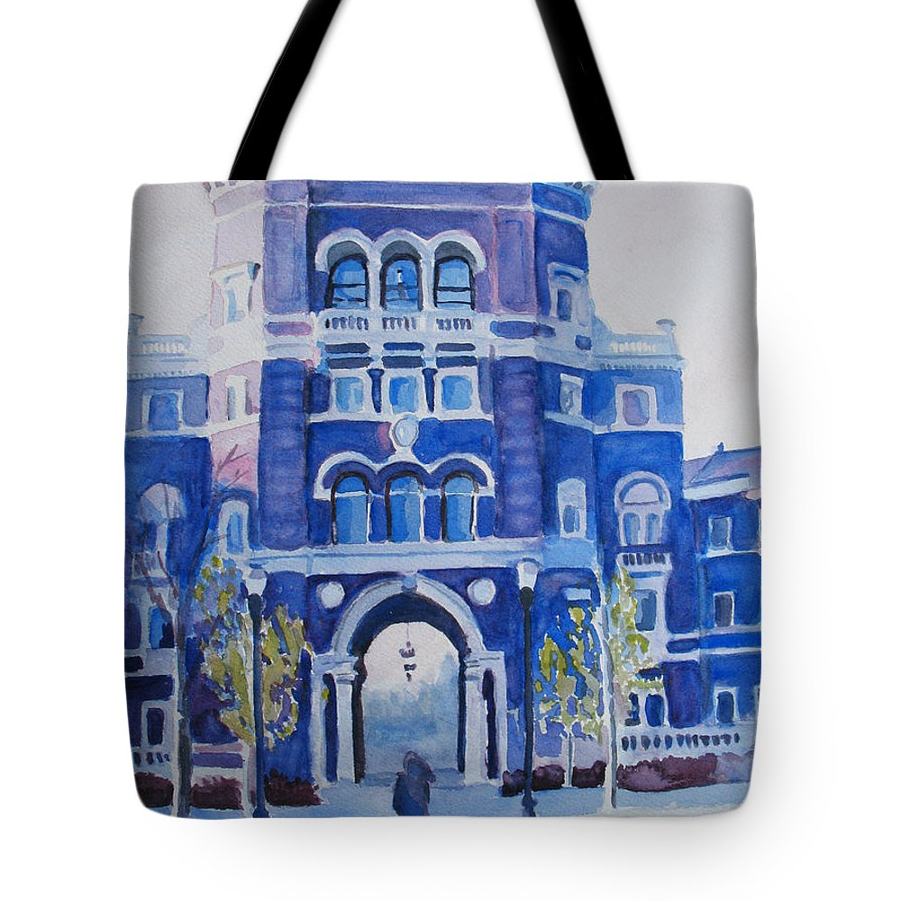 Building Tote Bag featuring the painting Winter Morning On Campus by Jenny Armitage