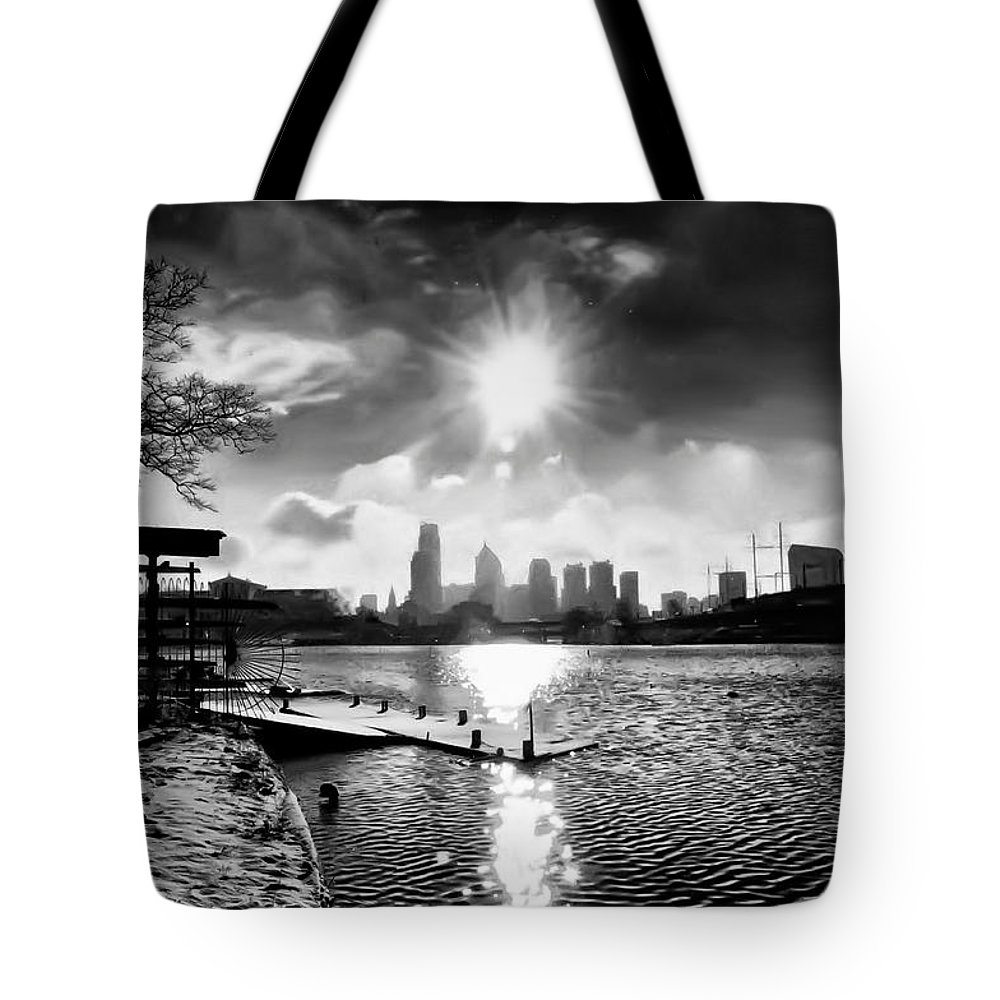 Philadelphia Tote Bag featuring the photograph Winter Morning On Schuylkill by Bill Cannon
