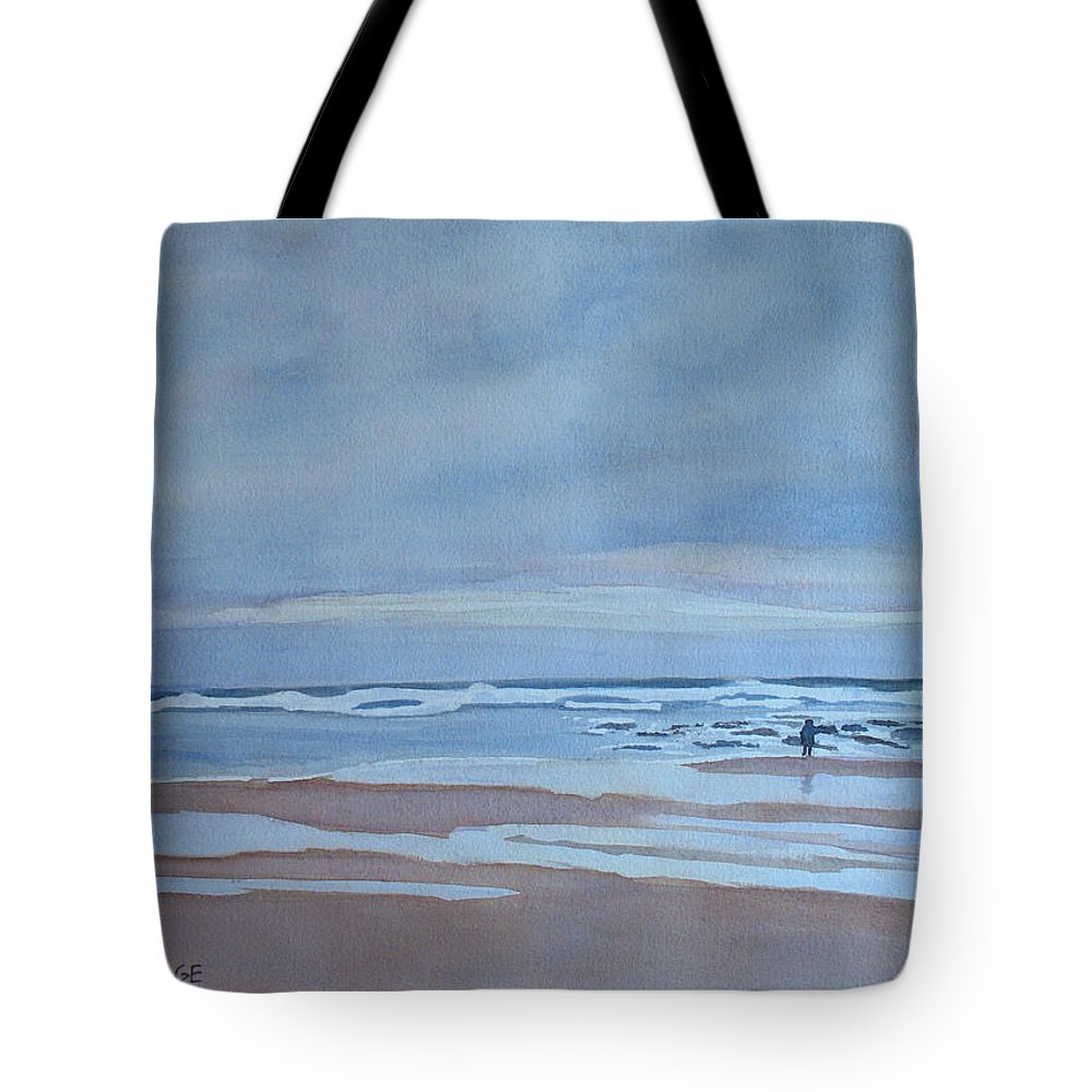 Ocean Tote Bag featuring the painting Winter Morning Solitude by Jenny Armitage