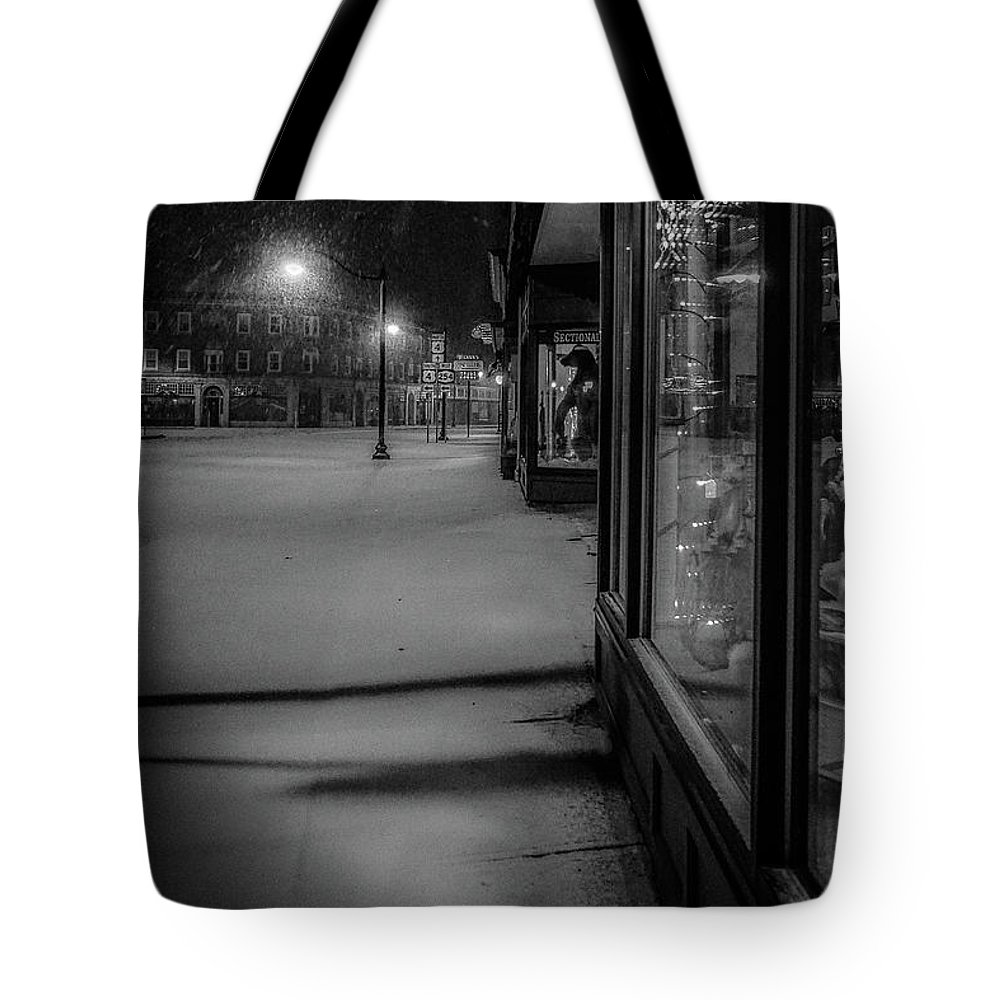 Tote Bag featuring the photograph Winter Night On Main by Kendall McKernon