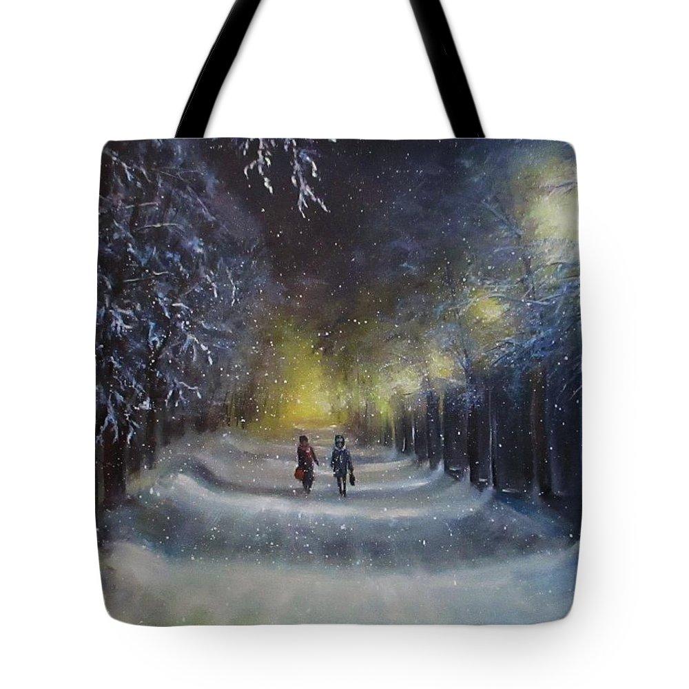 Night Lights Tote Bag featuring the painting Winter night walk by Natalja Picugina