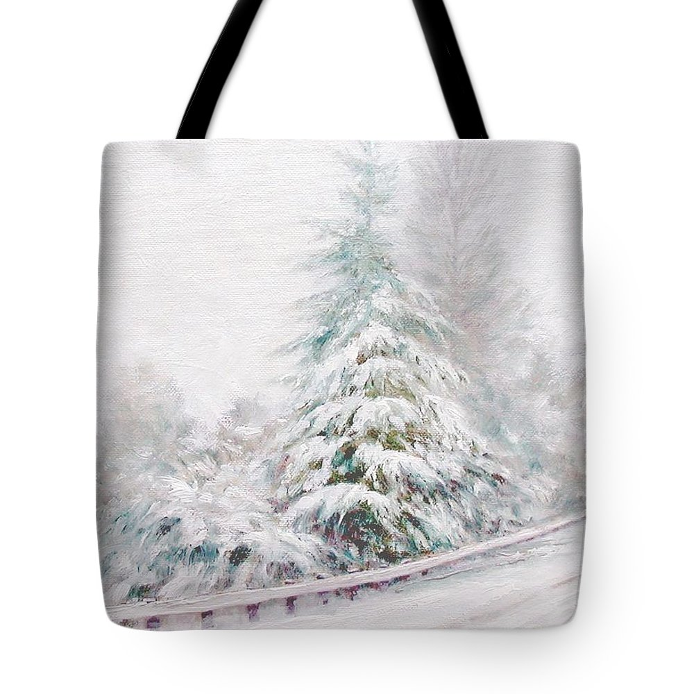 Winter Landscape Tote Bag featuring the painting Winter Of 04 by Jim Gola