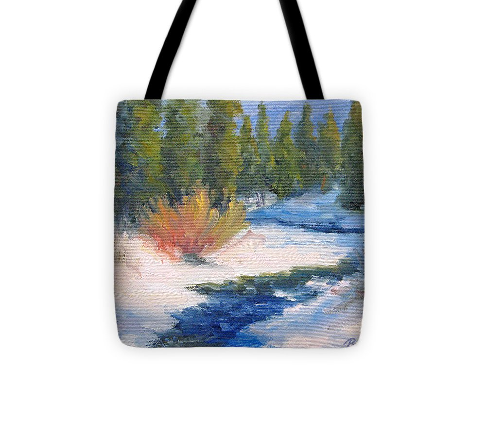 Landscape Tote Bag featuring the painting Winter On Gore Creek by Bunny Oliver