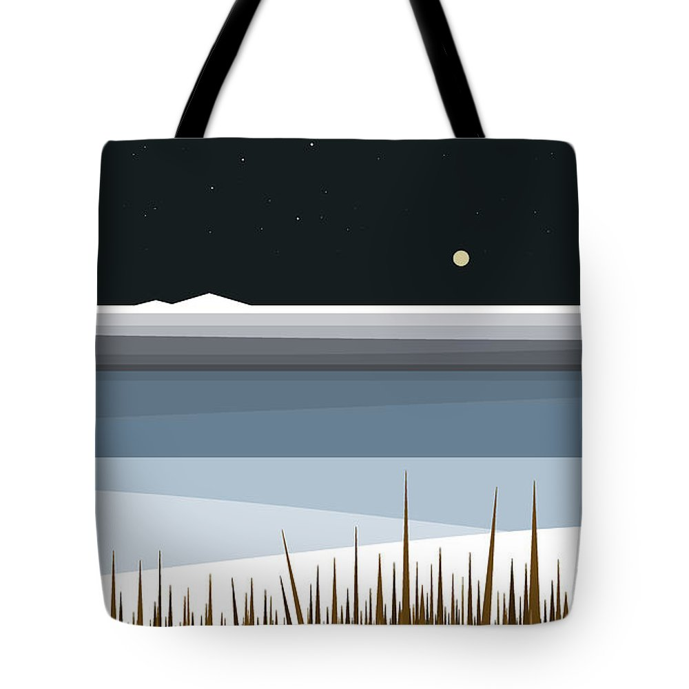 Winter On Hay Stack Mountain Tote Bag featuring the digital art Winter On Hay Stack Mountain by Val Arie