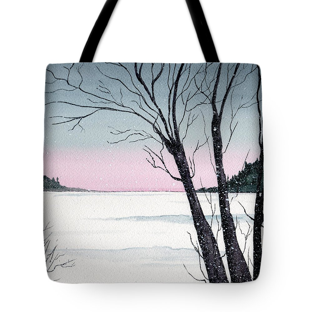 Landscape Tote Bag featuring the painting Winter On The Lake by Brenda Owen