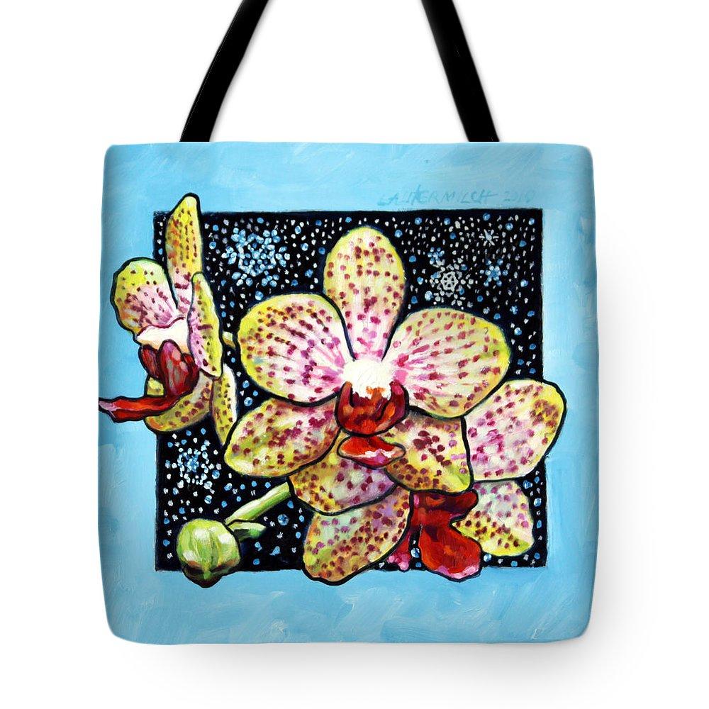 Spotted Orchids Tote Bag featuring the painting Winter Orchids by John Lautermilch