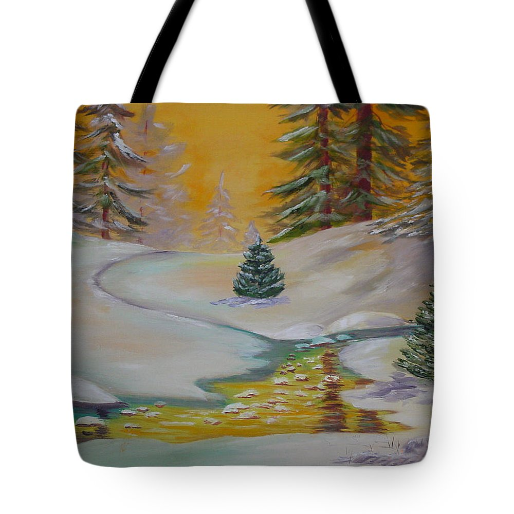 Winter Tote Bag featuring the painting Winter by Quwatha Valentine
