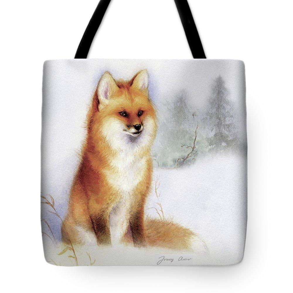 Fox Tote Bag featuring the painting Winter Red Fox by Tracy Herrmann