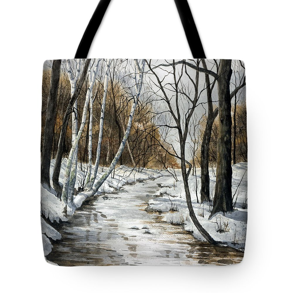 Minnesota Tote Bag featuring the painting Winter River by Mary Tuomi
