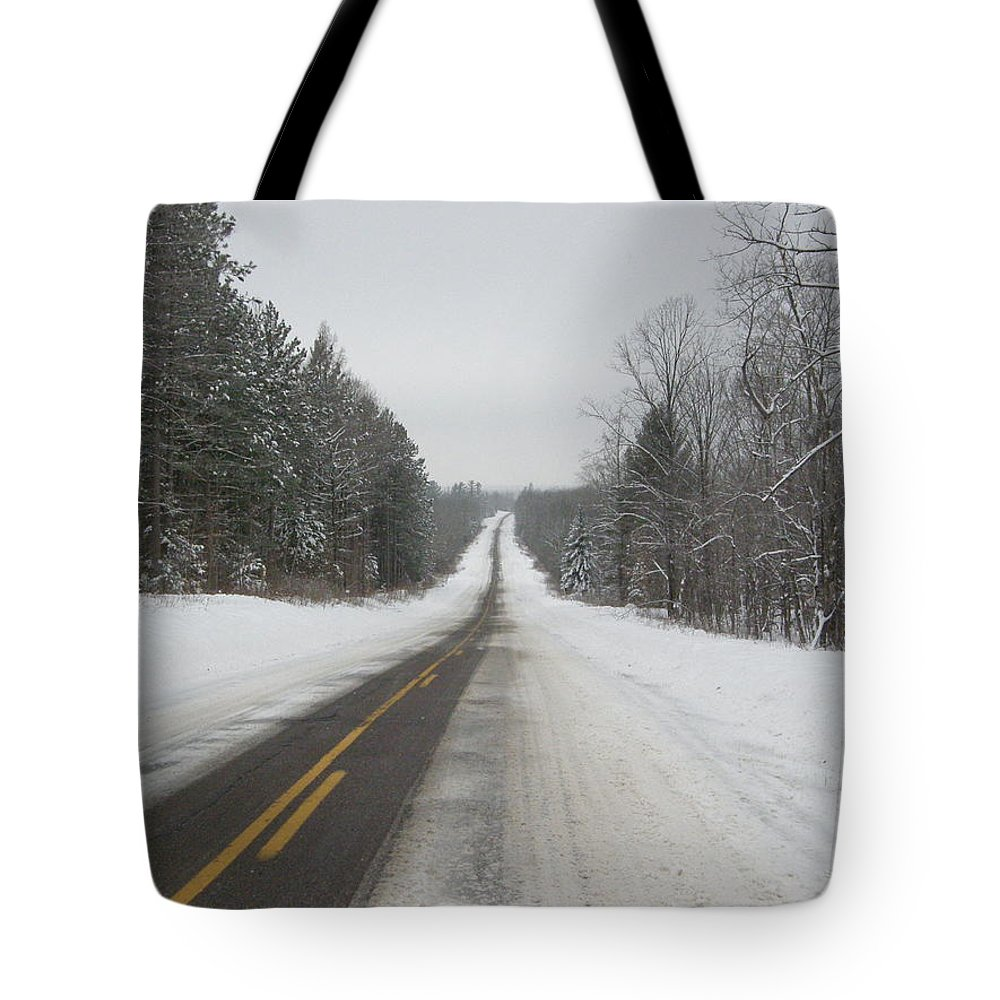 Winter Tote Bag featuring the photograph Winter Road by Alice Markham
