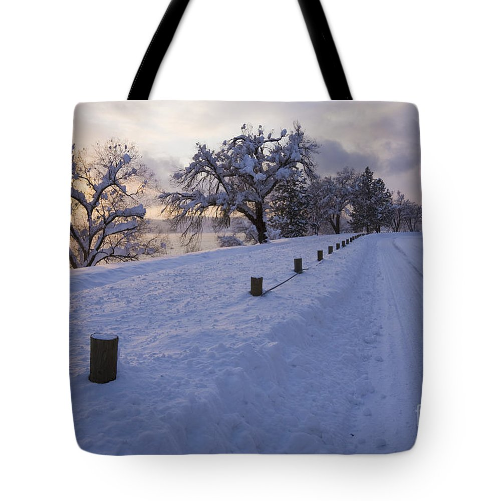 Idaho Tote Bag featuring the photograph Winter Road by Idaho Scenic Images Linda Lantzy