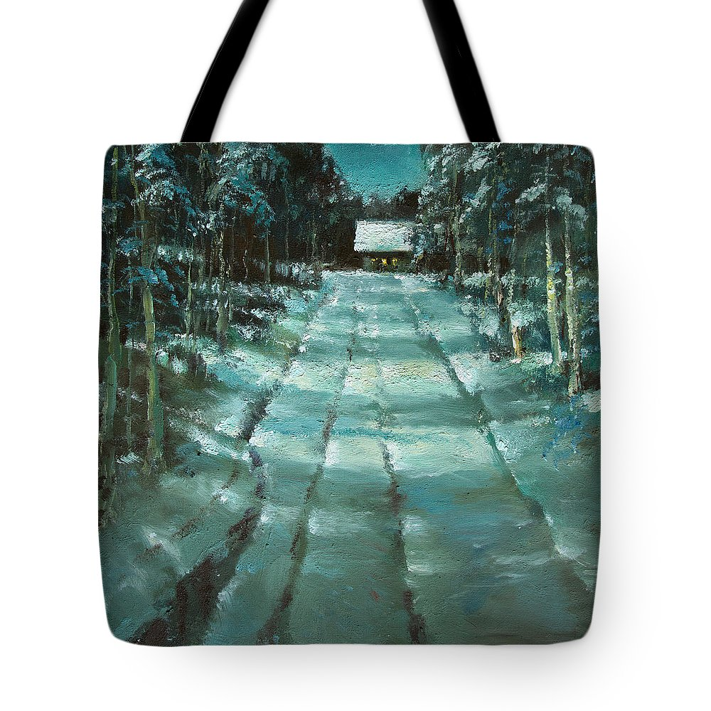 Winter Tote Bag featuring the painting Winter Road In Village by Mark Kremer