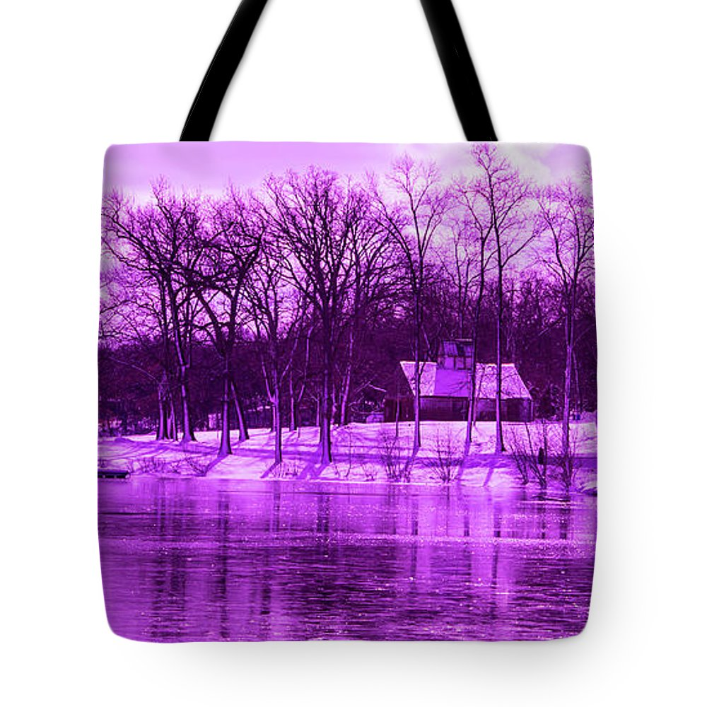 Violet Tote Bag featuring the photograph Winter Scene In Violet by By Way of Karma