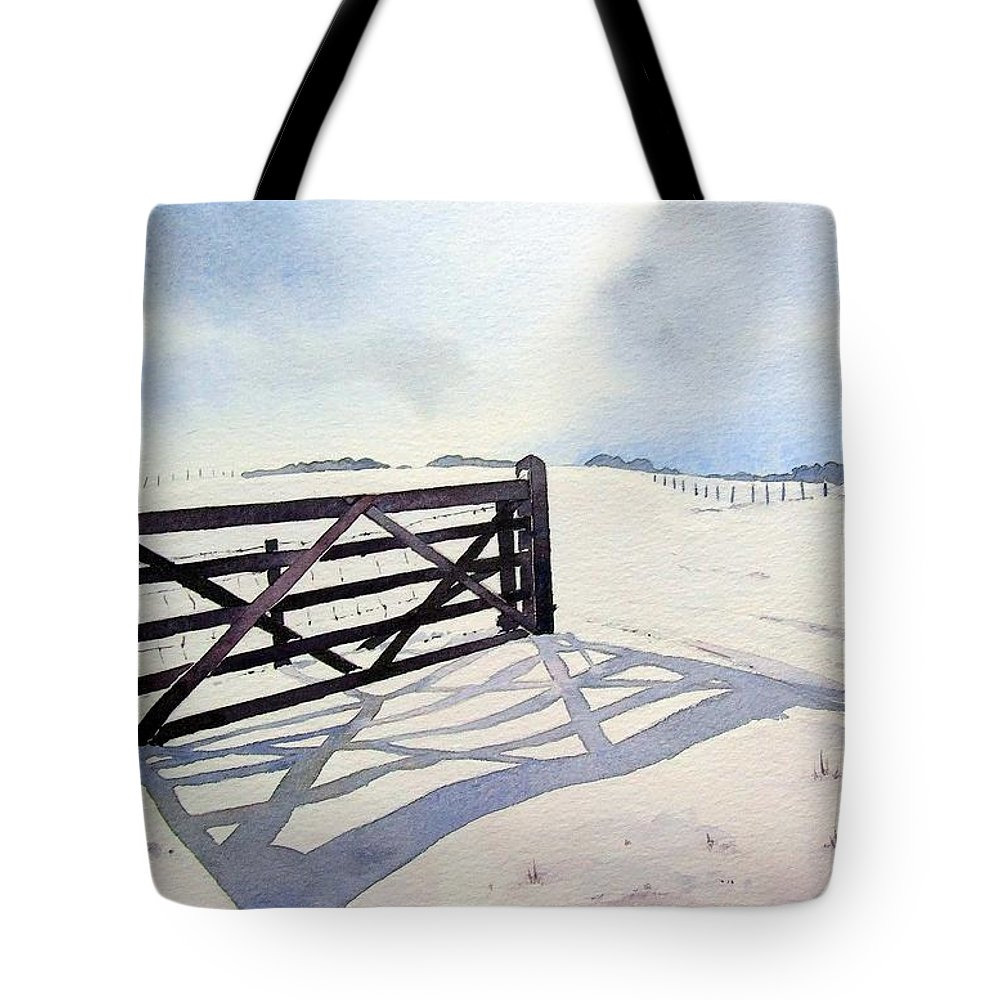 Landscape Tote Bag featuring the painting Winter Scene With Gate by Paul Dene Marlor