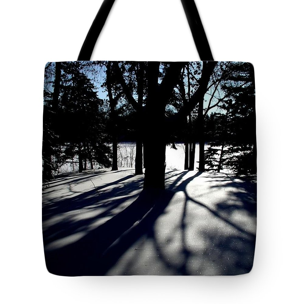 Landscape Tote Bag featuring the photograph Winter Shadows 2 by Tom Reynen