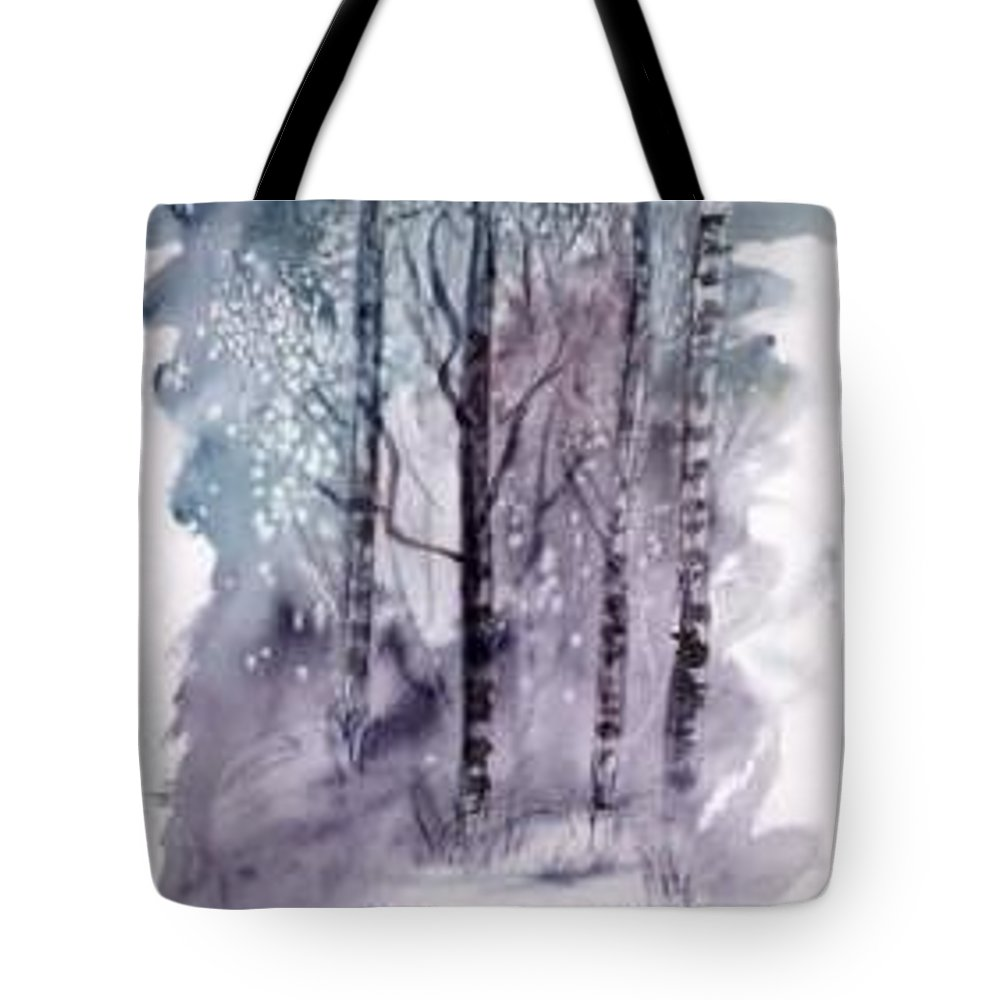 Watercolor Landscape Painting Tote Bag featuring the painting Winter Snow Landscape Painting Print by Derek Mccrea