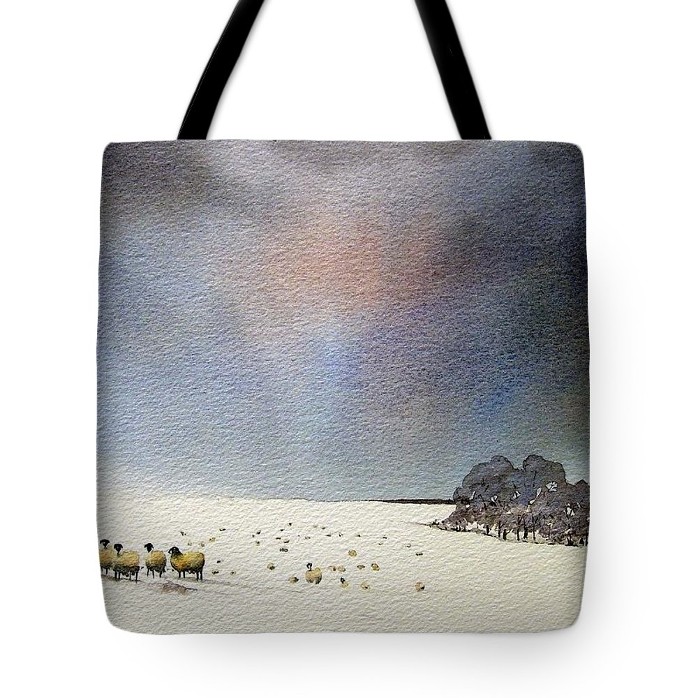 Landscape Tote Bag featuring the painting Winter Snow Swaledale by Paul Dene Marlor