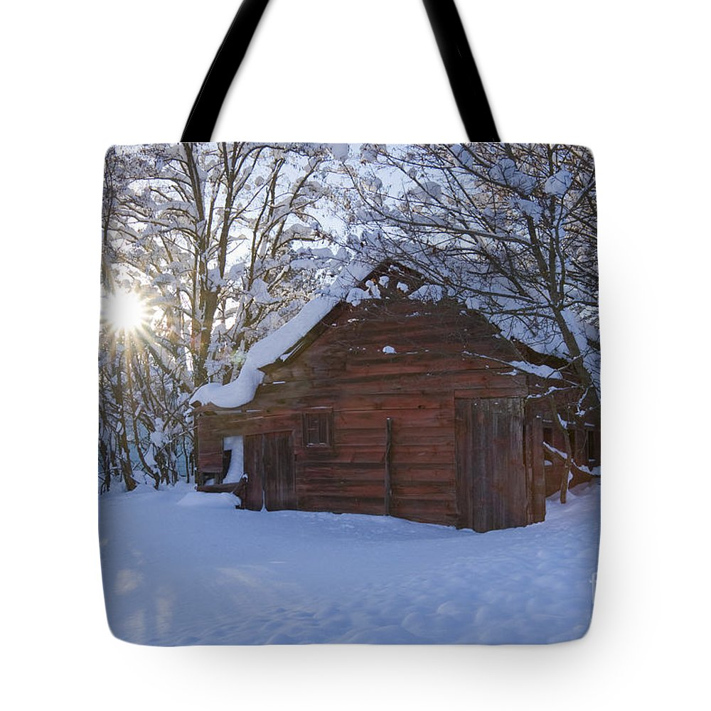 Red Tote Bag featuring the photograph Winter Stable by Idaho Scenic Images Linda Lantzy