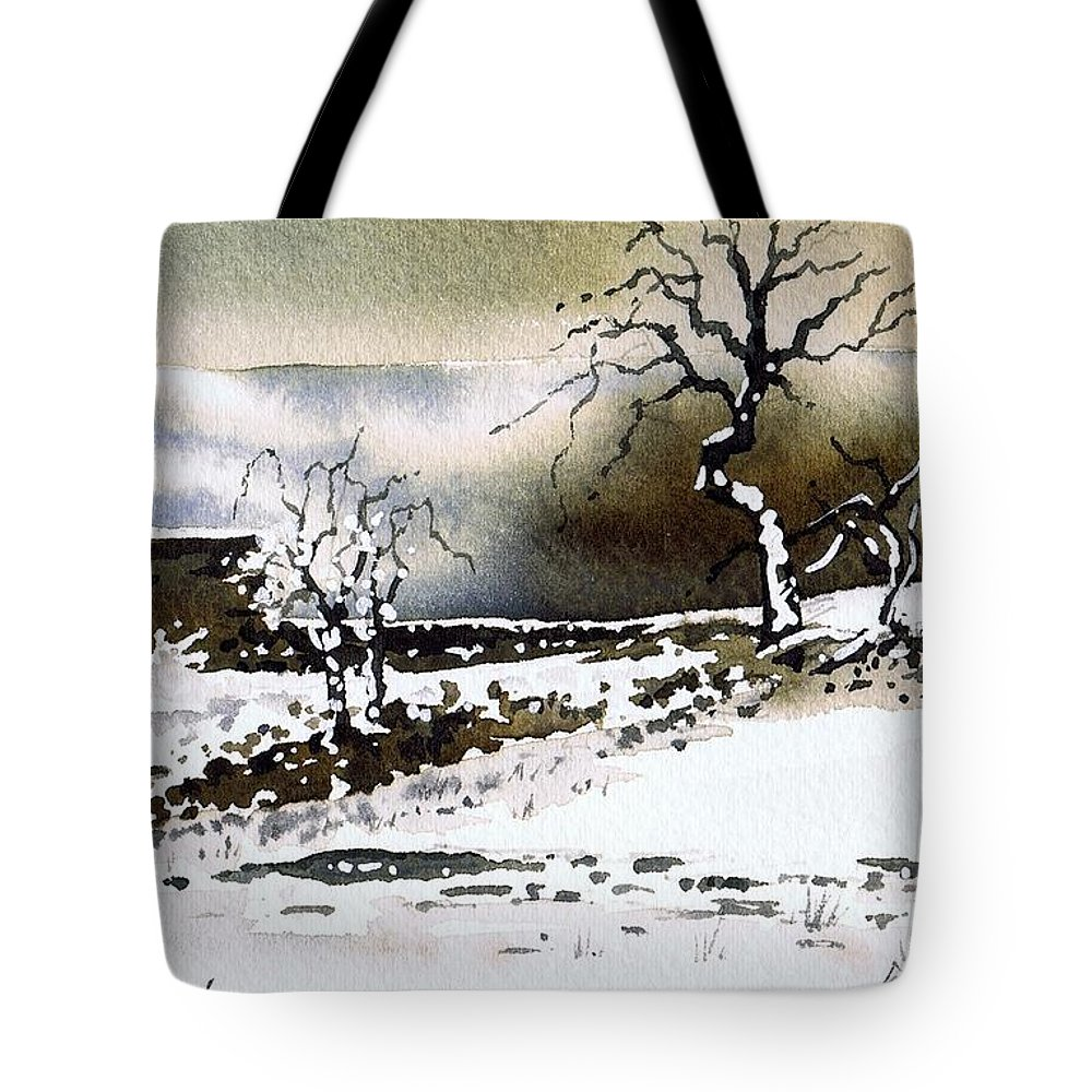 Winter Tote Bag featuring the painting Winter Stainland by Paul Dene Marlor