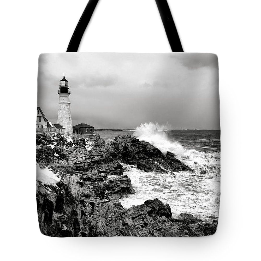 Portland Tote Bag featuring the photograph Winter Storm At Portland Head by Olivier Le Queinec