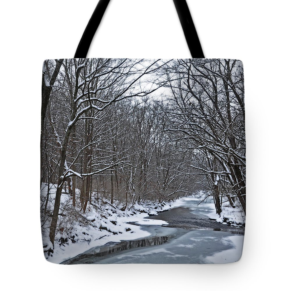 Snow Tote Bag featuring the photograph Winter Stream by Brittany Horton