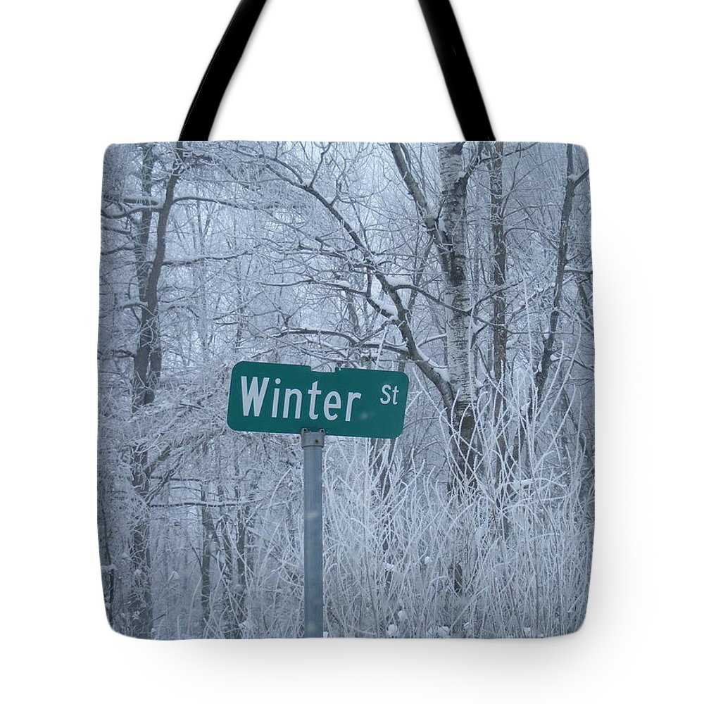 Winter Snow Frosted Trees Street Sign Tote Bag featuring the photograph Winter Street by Camille Converse-Smith