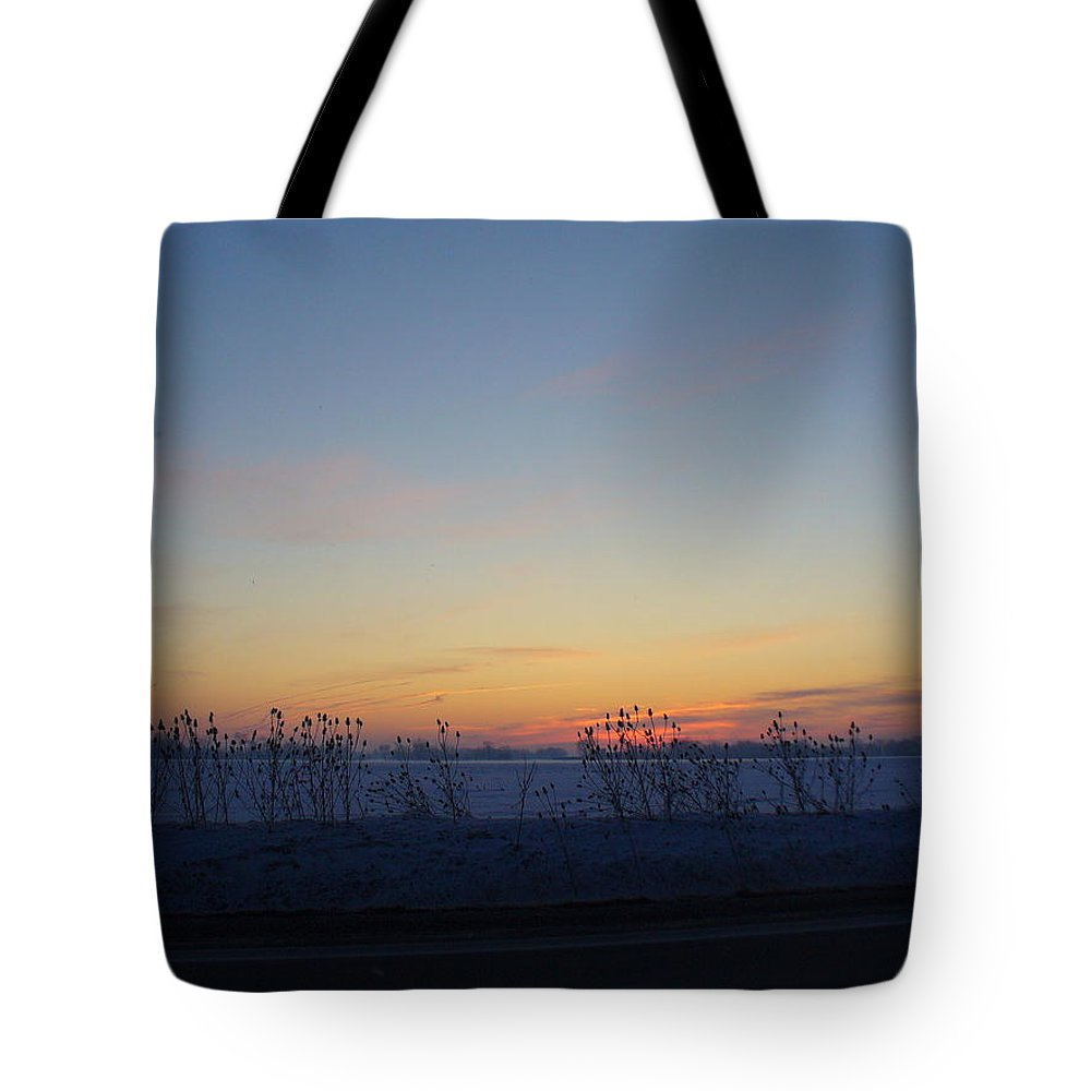 Sunrise Tote Bag featuring the photograph Winter Sunrise In Lambton County by Peggy King